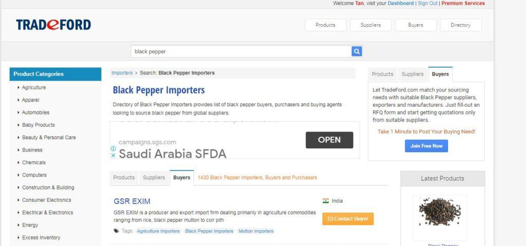 Tìm khách hàng quốc tế thông qua tradeford