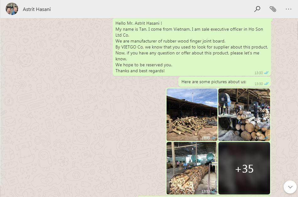Thư chào hàng xuất khẩu qua WhatSapp