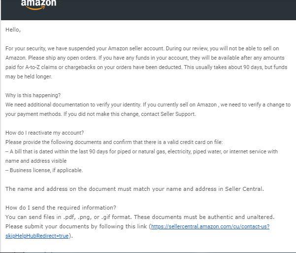 Thư thông báo đình chỉ bán hàng trên Amazon