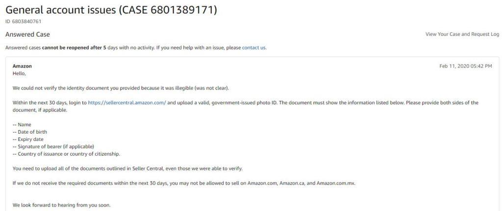Phản hồi của Amazon về tài liệu bị mờ